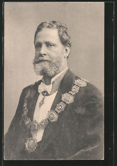 AK Bürgermeister Dr. Carl Lueger mit einer Kette über dem Anzug