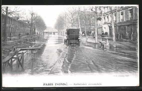 AK Paris, Inondé, Ambulance automobile, mobile Ambulance, Hochwasser
