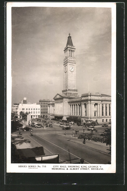 AK Brisbane, City Hall showing King George V. Memorial and Albert street