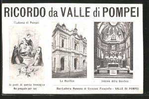AK Valle di Pompei, la basilica, l'interno della basilica, la Madonna di Pompei