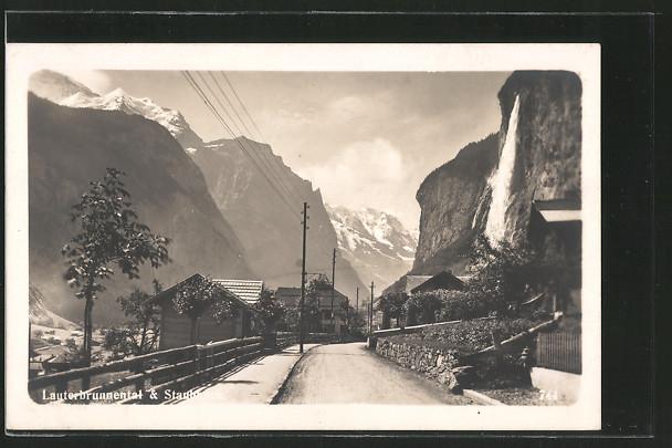 AK Lauterbrunnen, Lauterbrunnental und Staubbach mit Wasserfall