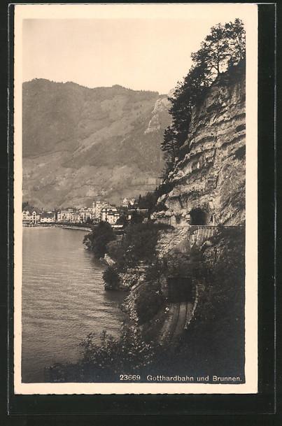 AK Gotthardbahn, Teilansicht mit Brunnen