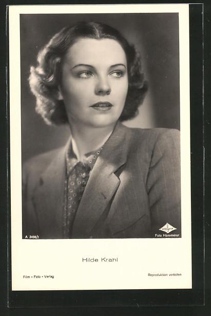 AK Schauspielerin Hilde Krahl zur Seite schauend
