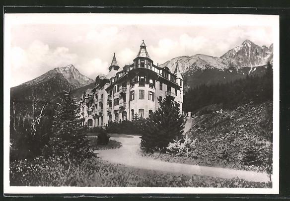 AK Tatranska Lomnica, Tatra-Lomnitz, Hotel Praha, Hohe Tatra