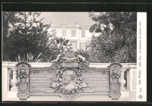 AK San Remo, villa Zirio in memoria di Federico III.