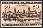 Notgeld Bremen 1921, 50 Pfennig, Stadtmotiv und Stadtsiegel, Kaufmann und Arbeiter