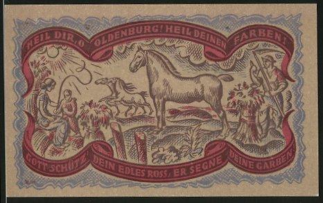Notgeld Oldenburg in Oldenburg 1921, 50 Pfennig, Stadtwappen, Bauern mit Pferden