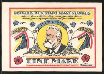 Notgeld Stavenhagen 1921, 1 Mark, Fritz-Reuter-Porträt, Fritz Reuter-Gefängnis