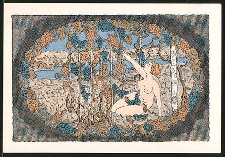 Notgeld Stammbach 1921, 75 Pfennig, Füllhorn, nackte Frau verzehrt Trauben