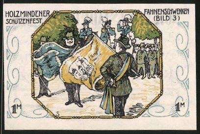 Notgeld Holzminden 1922, 1 Mark, Stadtwappen, Holzmindener Schützenfest: Fahnenschwenken