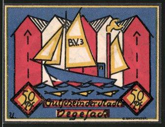 Notgeld Vegesack 1921, 50 Pfennig, Segelschiff