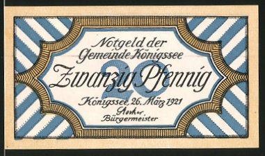 Notgeld Königssee 1921, 20 Pfennig, Blick auf den Königssee