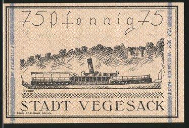Notgeld Vegesack 1921, 75 Pfennig, Stadtwappen, Dampfer
