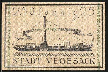 Notgeld Vegesack 1921, 25 Pfennig, Erstes deutsches Dampfschiff, Stadtwappen