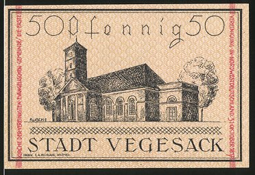 Notgeld Vegesack 1921. 50 Pfennig, evangelische Kirche, Stadtwappen