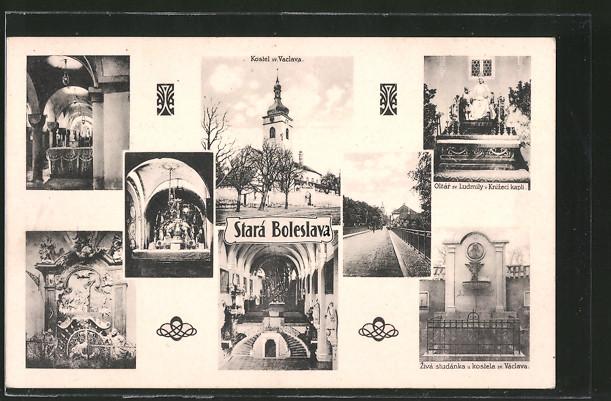AK Stara Boleslav, Kostel sv. Vaclava, Oltar sv. Ludmily v Knizeci kapli, Ziva studanka u kostela sv. Vaclava