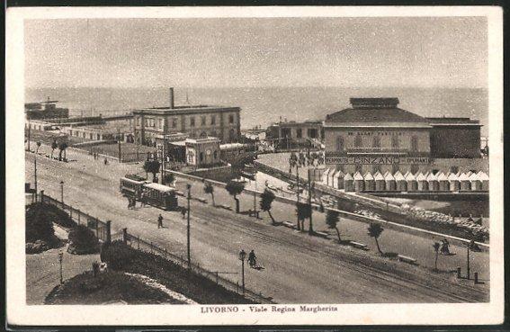 AK Livorno, Viale Regina Margherita mit Strassenbahn