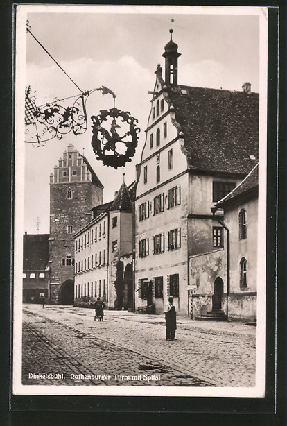 AK Dinkelsbühl, Rothenburger Strasse mit Rothenburger Turm und Spital
