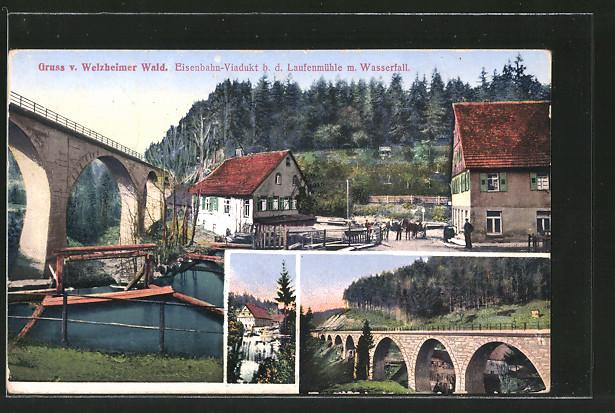 AK Welzheim, Eisenbahn-Viadukt beim Gasthaus Laufenmühle mit Wasserfall