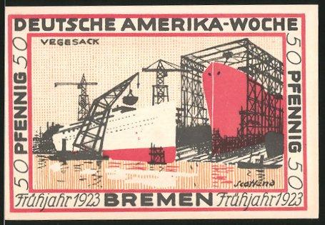 Notgeld Bremen 1923, 50 Pfennig, Wappen und Internationale Flaggen, Werftanlagen von Vegesack