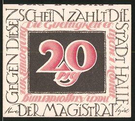 Notgeld Halle an der Saale, 20 Pfennig, Christian Thomasius 1728