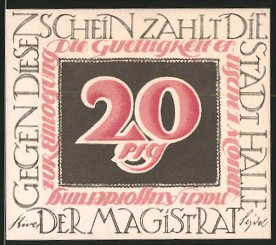 Notgeld Halle an der Saale, 20 Pfennig, Christian Wolff-Porträt
