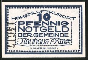 Notgeld Neuhaus am Renweg 1921, 10 Pfennig, Mann trinkt von Heilquelle