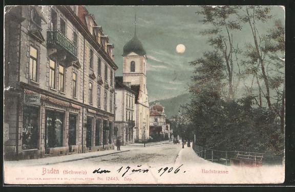 Mondschein-AK Baden, Badstrasse mit Häuserzeile