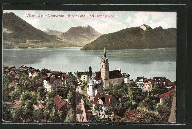 AK Vitznau, Gesamtansicht mit Vierwaldstätter See u. Bahntrace