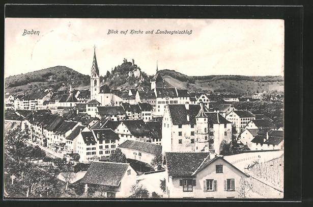 AK Baden, Teilansicht mit Kirche und Landvogteischloss