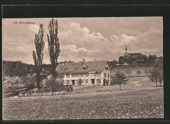AK St. Chrischona, Gebäudeansicht vom der Wiese aus