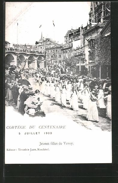 AK Lausanne, Cortege du Centenaire 5.7.1903, Jeunes filles de Vevey, Festzug