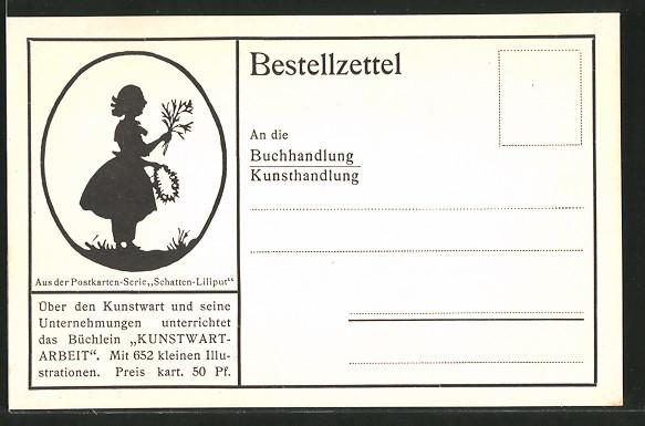 Künstler-AK Kunstwart: Bestellzettel für das Büchlein Kunstwart-Arbeit