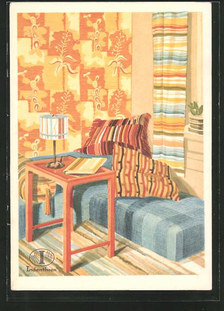 AK Reklame für indanthrenfarbige Vorhänge, Stoffe und Kissen