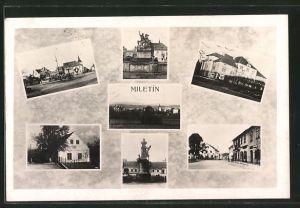 AK Miletín, Denkmäler, Gebäudeansicht, Strassenpartie mit Geschäften