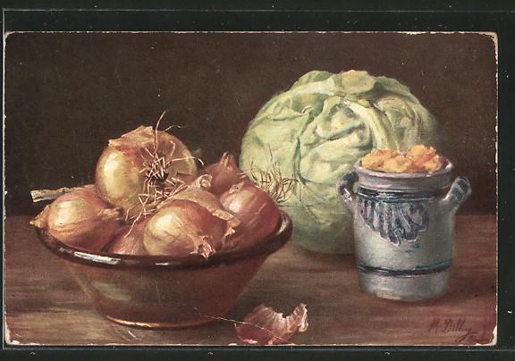 Künstler-AK M.Billing: Zwiebeln in einer Schale, Kohl