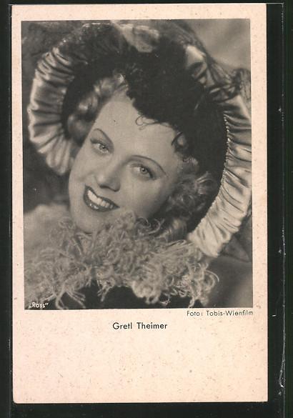 AK Schauspielerin Gretl Theimer lächelnd in Kamera schauend