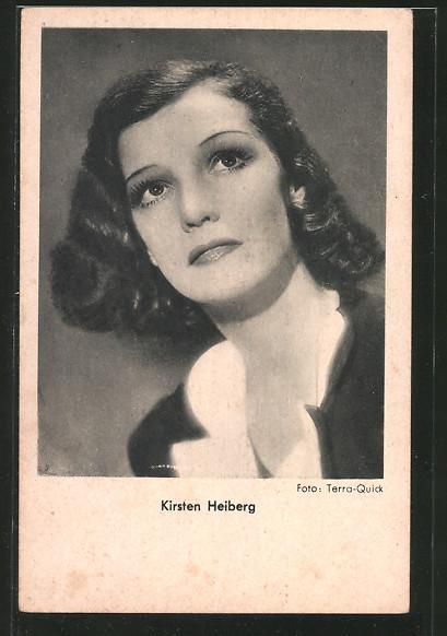 AK Schauspielerin Kirsten Heiberg zur Seite schauend