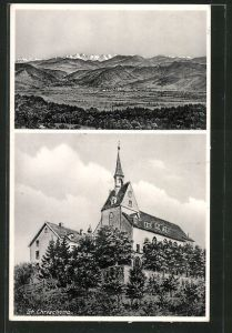 AK St. Chrischona, Kirche, Totale mit Bergen