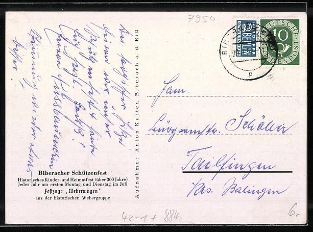 AK Biberach, Biberacher Schützenfest, Festzug: Weberwagen 1
