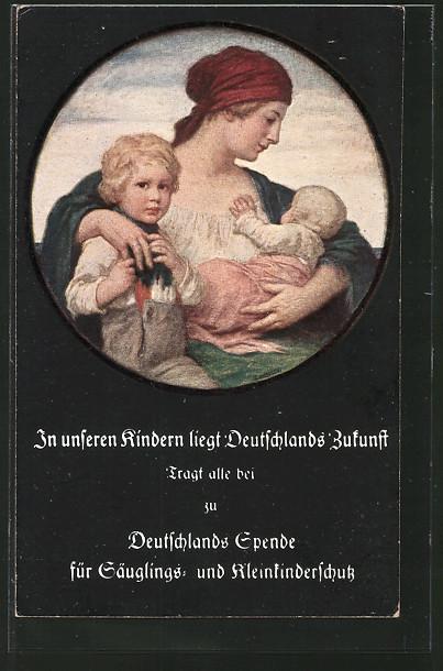 AK Mutter mit ihren zwei Kindern im Arm, Deutschlands Spende für Säuglings- und Kleinkinderschutz