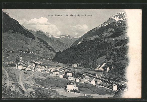 AK Airolo, Blick zum Ort, Ferrovia del Gottardo