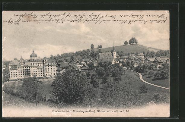AK Menzingen-Dorf, Südostansicht des Ortes