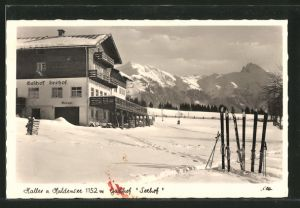 AK Haller, Gasthof-Pension Seehof mit Hahnenkamm und Gaichtspitze