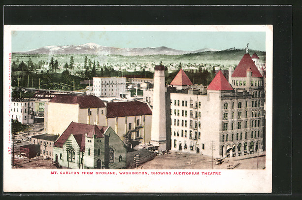 AK Spokane, WA, Mt. Carlton from Spokane, showing Auditorium Theatre