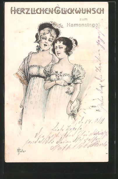 AK zwei Frauen in Kleidern, Namenstag