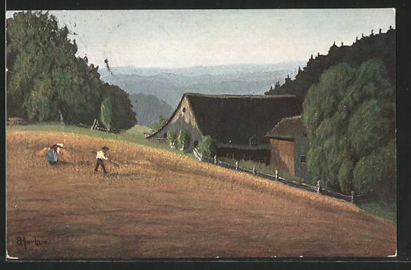 Künstler-AK E. Harbers: Bauernpaar auf einem Feld