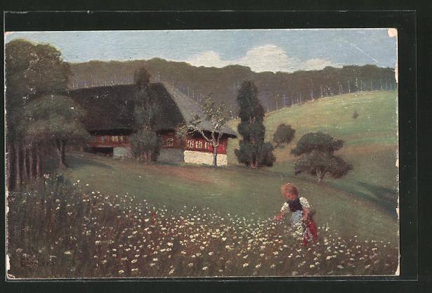 Künstler-AK E. Harbers: Kind auf einer Weise vor einem Haus