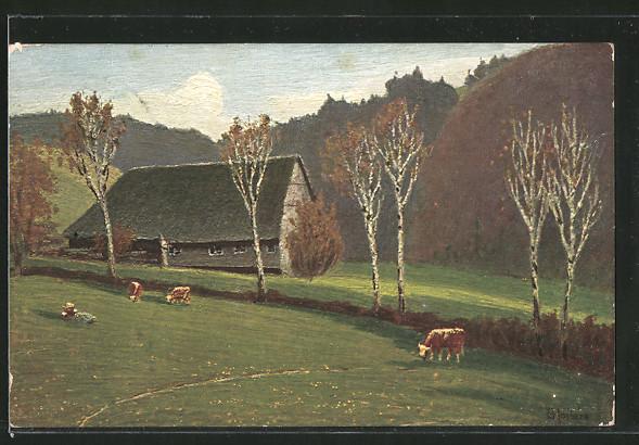 Künstler-AK E. Harbers: Kühe auf einer Weide vor einem Haus