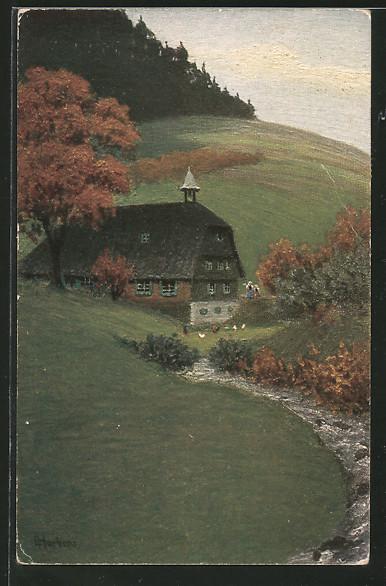 Künstler-AK E. Harbers: Haus an einem Fluss